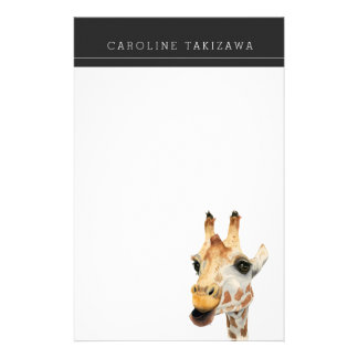 """Chew"" Giraffe Watercolor Painting with Name Stationery"