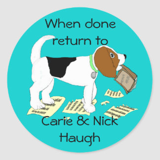 Chewing Beagle Bookplate Classic Round Sticker