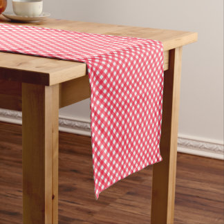 CHEX 7-WATERMELON RED-COTTON TABLE RUNNER-14x72in Short Table Runner