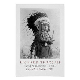 Cheyenne Boy in Headdress Poster