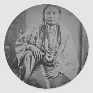 Cheyenne Indian Woman Vintage Stereoview Card Classic Round Sticker