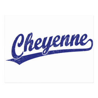Cheyenne script logo in blue postcard