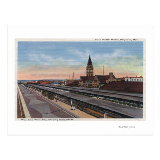 Cheyenne, WY - Union Pacific Railroad Station Postcard