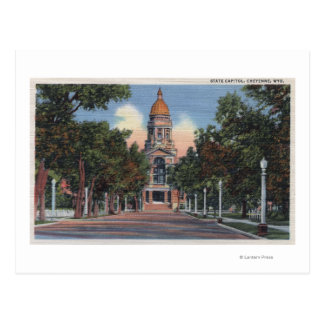 Cheyenne, WY - View of State Capitol and Drivewa Postcard