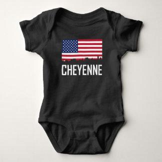 Cheyenne Wyoming Skyline American Flag Baby Bodysuit