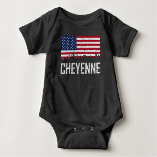 Cheyenne Wyoming Skyline American Flag Distressed Baby Bodysuit