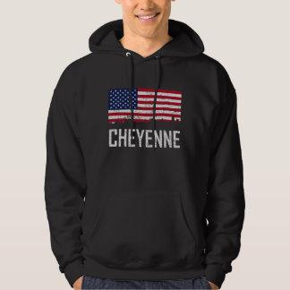 Cheyenne Wyoming Skyline American Flag Distressed Hoodie