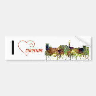 Cheyenne Wyoming Skyline - Safari Buff Bumper Sticker
