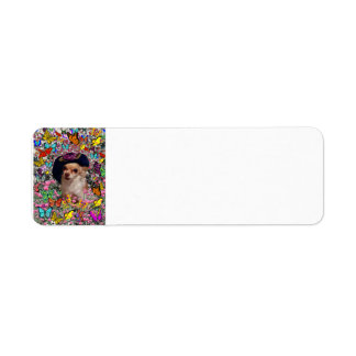 Chi Chi in Butterflies  - Chihuahua Puppy in Hat Return Address Label