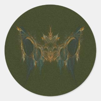 Chi Mukwa Bear Totem Fractal Art Classic Round Sticker