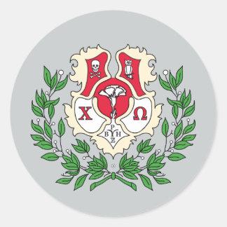 Chi Omega Crest Classic Round Sticker