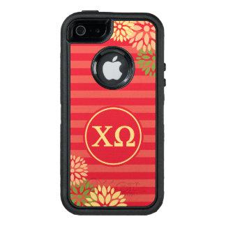 Chi Omega | Monogram Stripe Pattern OtterBox Defender iPhone Case