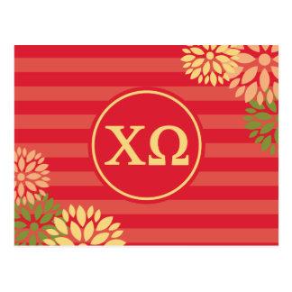 Chi Omega   Monogram Stripe Pattern Postcard