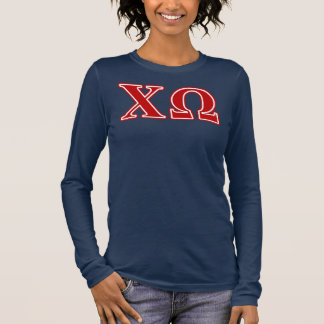 Chi Omega Red Letters Long Sleeve T-Shirt