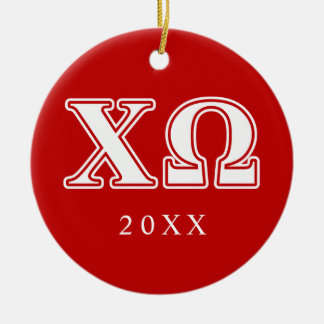 Chi Omega White and Red Letters Ceramic Ornament