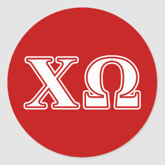 Chi Omega White and Red Letters Classic Round Sticker