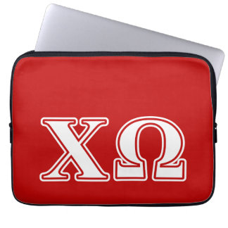Chi Omega White and Red Letters Laptop Sleeve