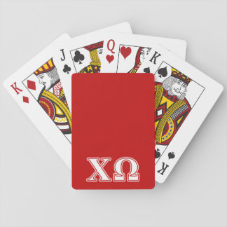 Chi Omega White and Red Letters Playing Cards