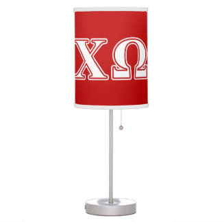 Chi Omega White and Red Letters Table Lamp