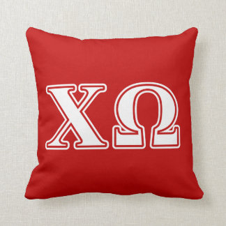 Chi Omega White and Red Letters Throw Pillow