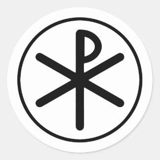 Chi-rho symbol classic round sticker