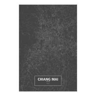 Chiang Mai, Thailand (white on black) Poster
