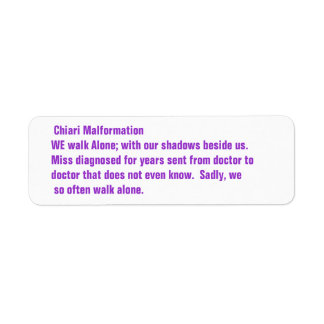 Chiari Malformation Awareness Return Address Label
