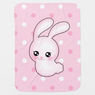 Chibi Anime Pink Easter Bunny Rabbit Baby Blanket