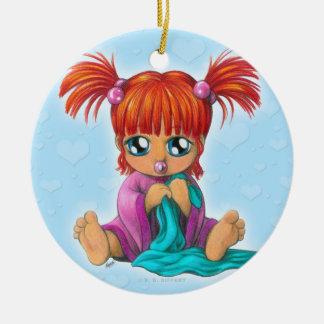 Chibi Baby Round Ceramic Ornament