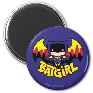 Chibi Batgirl avec l'horizon et le logo de Gotham Magnet Rond 8 Cm