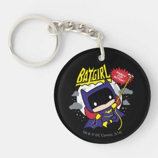 Chibi Batgirl Ready For Action Double-Sided Round Acrylic Keychain