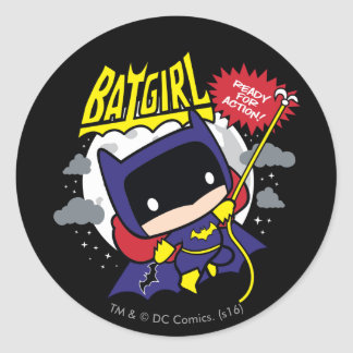 Chibi Batgirl Ready For Action Round Sticker