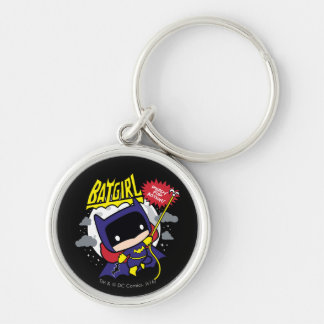 Chibi Batgirl Ready For Action Silver-Colored Round Keychain