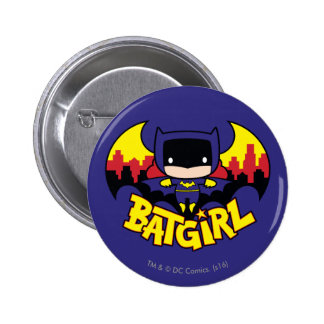 Chibi Batgirl With Gotham Skyline & Logo 2 Inch Round Button