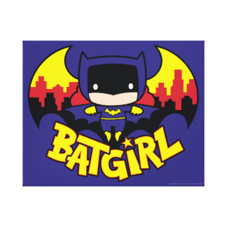 Chibi Batgirl With Gotham Skyline & Logo Canvas Print