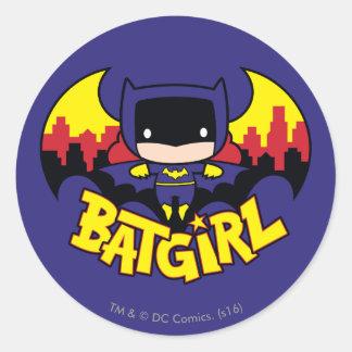 Chibi Batgirl With Gotham Skyline & Logo Classic Round Sticker