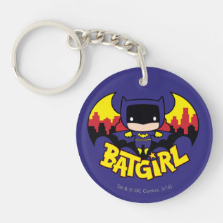 Chibi Batgirl With Gotham Skyline & Logo Double-Sided Round Acrylic Keychain