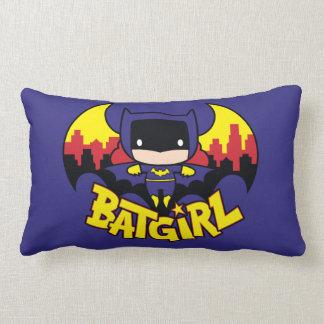 Chibi Batgirl With Gotham Skyline & Logo Lumbar Pillow