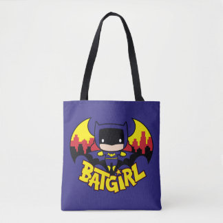 Chibi Batgirl With Gotham Skyline & Logo Tote Bag