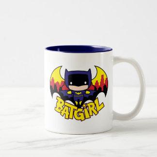 Chibi Batgirl With Gotham Skyline & Logo Two-Tone Coffee Mug