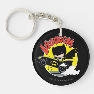Chibi Batman In The Batmobile Double-Sided Round Acrylic Keychain