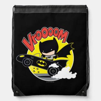 Chibi Batman In The Batmobile Drawstring Bag