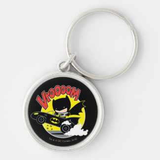 Chibi Batman In The Batmobile Silver-Colored Round Keychain