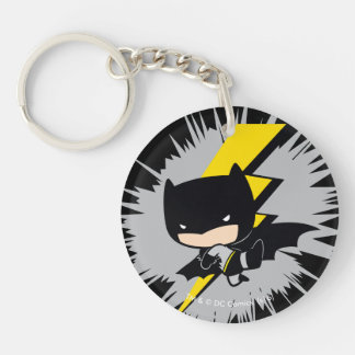 Chibi Batman Lightning Kick Double-Sided Round Acrylic Keychain