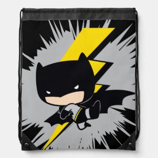 Chibi Batman Lightning Kick Drawstring Bag