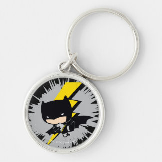 Chibi Batman Lightning Kick Silver-Colored Round Keychain