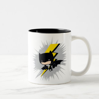 Chibi Batman Lightning Kick Two-Tone Coffee Mug