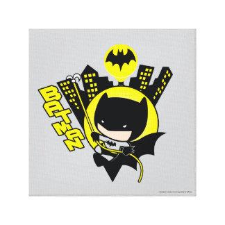 Chibi Batman Scaling The City Canvas Print