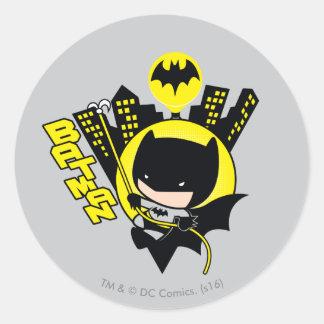 Chibi Batman Scaling The City Classic Round Sticker