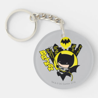 Chibi Batman Scaling The City Double-Sided Round Acrylic Keychain